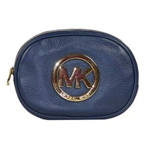 Auth Michael Kors Navy Fulton Leather Pouch